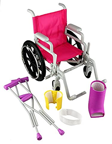 Click n' Play Doll Wheelchair and Crutches Set, Perfect For