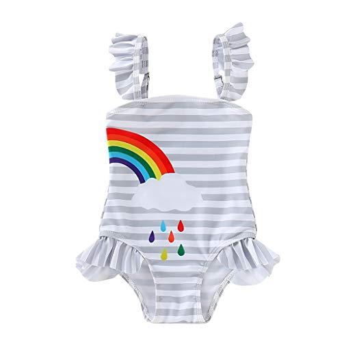 SUNFANY Bikini Badeanzug Bademode BikinihoseKinder Kinder MäDchen Bikini Beach Strip Regenbogen Print Badeanzug(Grau,2-3 Years) (Badeanzüge Ddd)