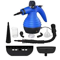 Idea Regalo - Comforday Pulitore a Vapore Portatile Multiuso con 9 Accessori per Rimuovere Macchie, Blu