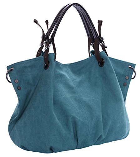 DATO Borsa a Tracolla da Donna Retrò Borsetta Borse a Mano Satchel Grande Tela Sacchetto Messenger Borsa a Spalla Tote Shopper Bag Blu