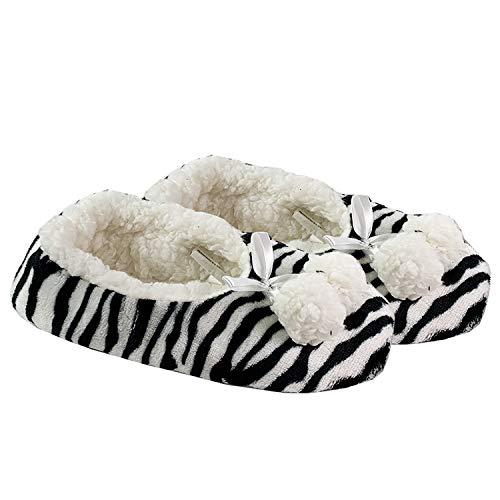 Mojawo Kuschelige Hausschuhe Zebra mit Bommel+Schleife Hausstiefel Hüttenschuhe Plüsch und Antirutschsohle in Größe 40/41