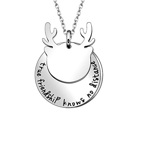 """Collar con colgante de ciervo con texto en inglés""""true friendship knows no distance"""" para regalo unisex"""