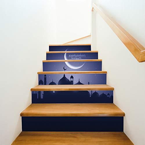 os Wandaufkleber Deko Moslemischer Ramadan-Segen Kreative Treppenaufkleber Kreative Bodentreppen Dekorativ 0514#019 ()