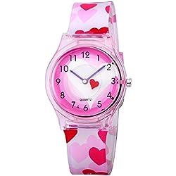 Reloj para ninas Zeiger - Reloj de cuarzo para ninos Reloj para aprender la hora Reloj analógico pulsera Para Niños Niñas - KW047 Reloj deportivo Reloj de cuarzo para niñas Corazón Rosa