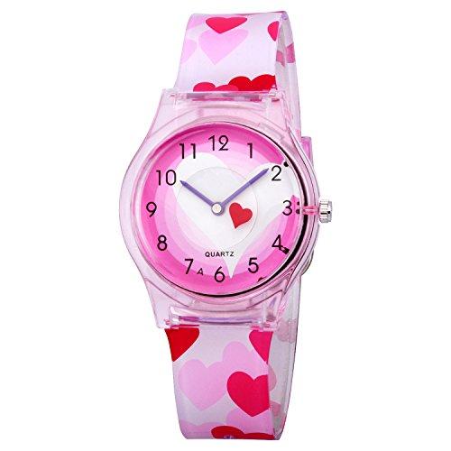 Preisvergleich Produktbild Kinderuhr ZEIGER Quarz Mädchen Uhr Analog Rosa Silikon Armbanduhr Kinder Mädchen Geschenk Uhr KW047
