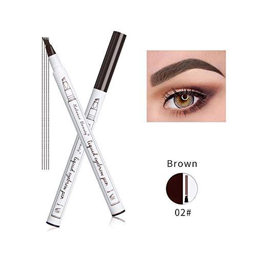 Cooljun tatouage crayon à sourcils avec 4 conseils longue durée imperméable à l'eau gel pour les yeux Maquillage (B)