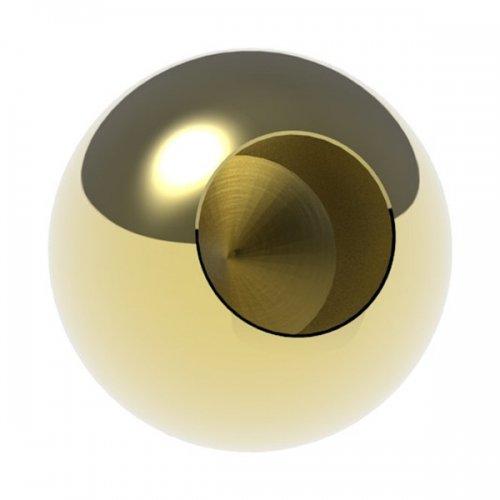 Messingkugel massiv ø 25mm, mit 12,2mm Sackloch, spezialbeschichtet für Innen- und Außenbereich