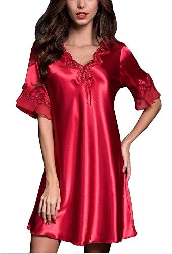 KE1AIP Camicie da Notte Donna signore in raso merletto liscio Elegante Sexy Donna Pigiama V-collo Lingerie Soft Nightwear Classica Semplice Camicia Red