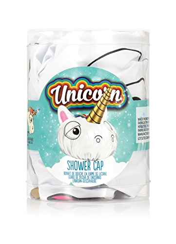 NPW Novelty Shower Cap Hat - White Unicorn Shower Cap