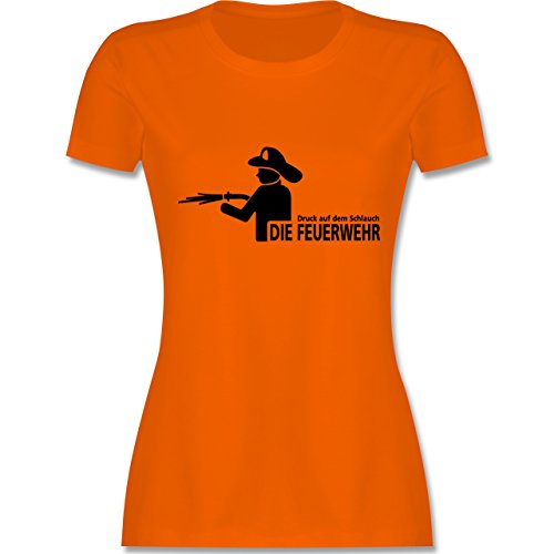 Feuerwehr - Druck auf dem Schlauch - Die Feuerwehr - tailliertes Premium T-Shirt mit Rundhalsausschnitt für Damen Orange