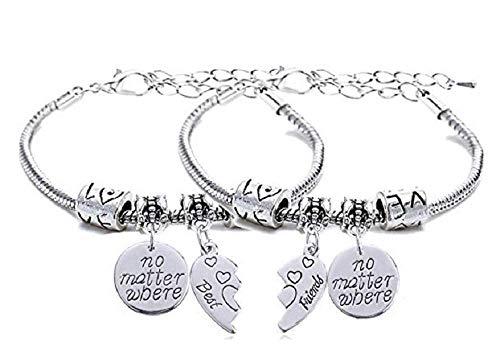 Imagen de dos pulseras  pulseras  motivación  colgante  mejores amigos  no importa dónde  hombres  mujeres  unisex  color plata  idea de regalo best friend alternativa