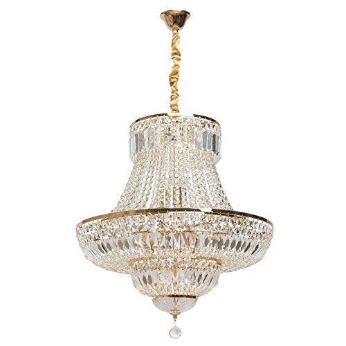 Chiaro 340011409 Kronleuchter Französisch Gold Farbe Kristall Kaskade 9 Flammig für Wohnzimmer 9 x 40W E14
