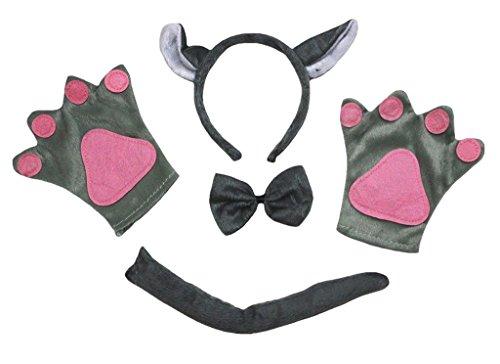 Petitebelle Stirnband Bowtie Schwanz Handschuhe 4pc Kostüm Einheitsgröße Grauer Wolf