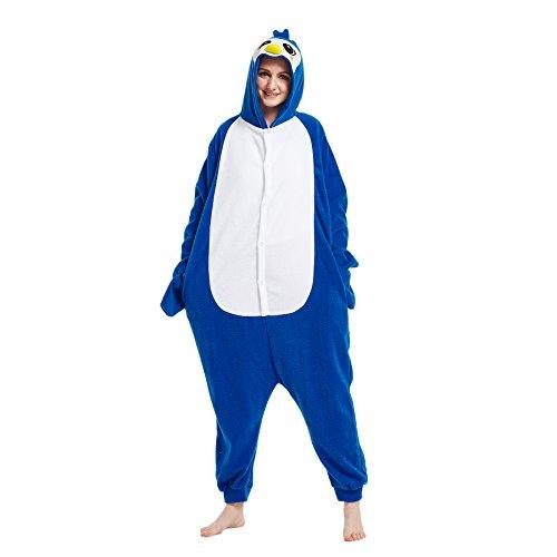 Hstyle Adulte Unisexe Onesies Kigurumi Pyjamas Animal Costumes De Cosplay De Bande Dessinée Vêtements De Nuit Pingouin Bleu