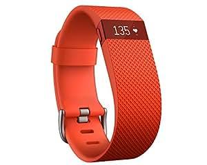 Fitbit Charge HR Braccialetto Monitoraggio Battito Cardiaco e Attività Fisica, Taglia L, Mandarino
