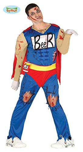 Muskel Unglaubliche Kostüme (Beerman Superheld Zombie Halloween Kostüm Kostüm für Herren Bier blutig blau rot Cape Muskeln Gr. M/L,)