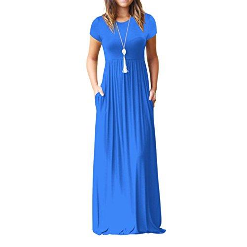 MCYs Damen Sommerkleider Elegant Einfarbig Falten Kurzarm Lose Strandkleid  Bandeau Langarm Beach Maxi Kleider mit Tasche 467aa075ab