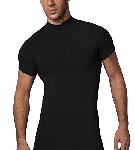 Doreanse Herren Shirt Halbkragen T-Shirt Sportshirt Mens Muscle Fit T-Shirt High-Neck (XL - 56/58, Schwarz) (Neck High T-shirt)