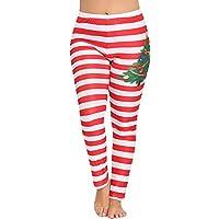 Pantalones Yoga Mujeres Impresión Rayas Arbol de Navidad,Mallas pantalón Chandal Mujer Deportivos de Cintura Alta para Mujeres Running Fitness Leggings Ropa de Ejercicio Gusspower