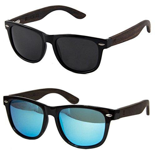 WOLA Sonnenbrille Holz - Bügel ICE eckige Brille starke Brücke polarisierte Holzbrille Damen L Herren M Set 1x blau und 1x grau Unisex Damen L - Herren M
