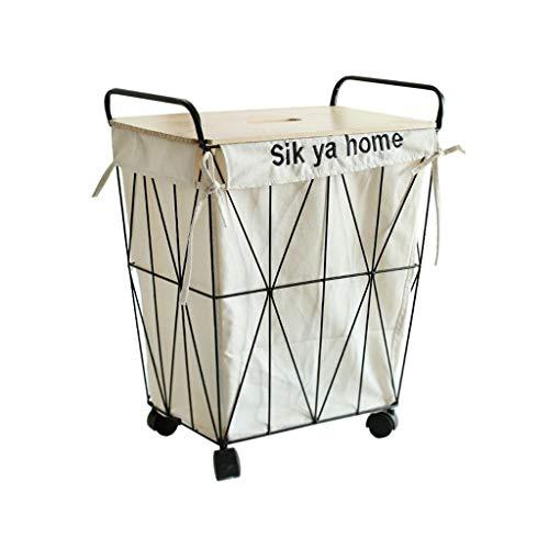 Cesto para ropa de colada color blanco tama/ño grande, 50 x 30 x 60 cm Woodluv Shaker