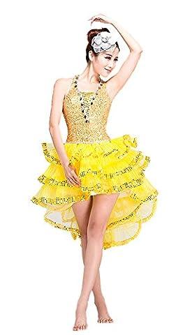 Honeystore 2016 Neuheiten Damen Ärmellos Jazz Latein Dance Kleid mit Pailletten Gelb S (Designer Bauchtanz Kostüme)