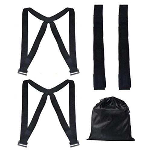 MEYLEE Polypropylen Seidenriemen mit Metallschnalle, Seil-Bindegurt für Transportgüter und tägliche Lebensdauer - Maximale Belastung 300 kg, black
