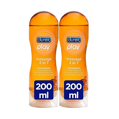 Durex Play Massage 2 in 1 gel per massaggi erotici e lubrificante stimolante con guaranà 200 ml [confezione da 2 unità]