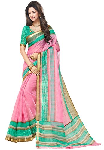 Miraan Women's Silk Saree With Blouse Piece (SRH131_pink_One Size)