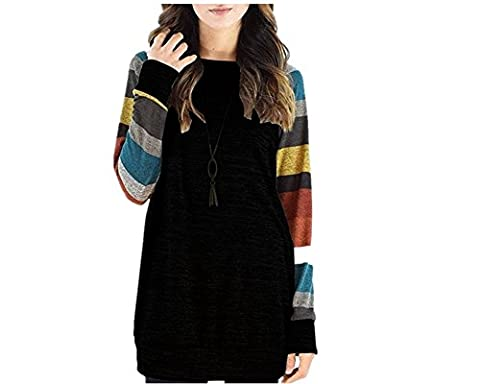 ICOCOPRO women's Crewneck Sweatshirt Long Sleeve Cotton Tunic Comfy Striped Tops-MultiBlack-XL