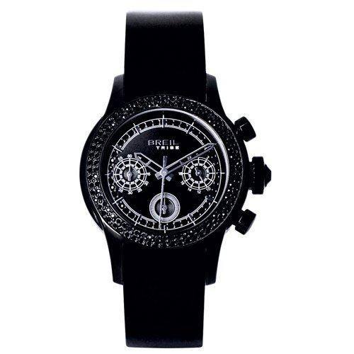 Breil Ladies Globe Quartz Watch TW0505 with Black Chronograph Dial, Black Colour Ip Case With Crystals and Black Strap