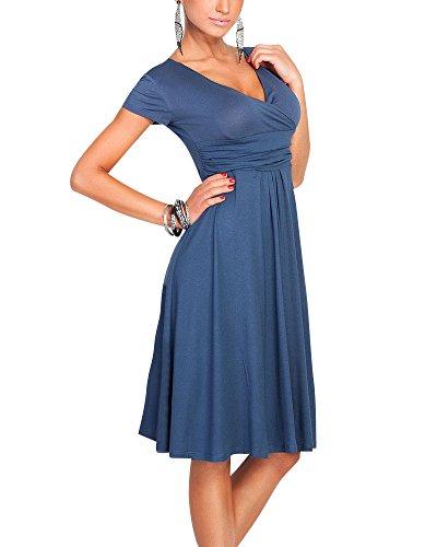 Moollyfox Donna Abito a Manica Corta Estivo Vestito Scollo A V Molto Femminile Blu scuro