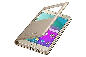 IDEALWindow View Leather Flip Case Cover for Samsung Galaxy A7 A700 [ NOT FOR A710 ] - Gold