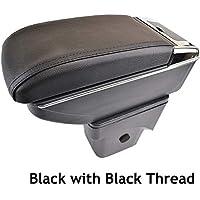 Reposabrazos de piel negra de doble capa para Focus 2 2005 - 2011 MK2, consola central, caja de almacenamiento, reposabrazos