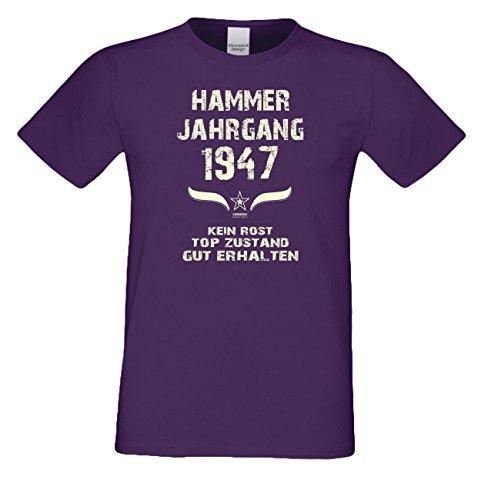 Geschenk-Set zum 70. Geburtstag : Hammer Jahrgang 1947 : Fun T-Shirt & Urkunde als Geburtstagsgeschenk Geschenkidee Geschenk für Männer : Farbe: lila Lila