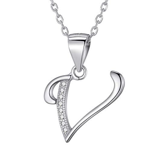 Morella Damen Halskette Silber mit Buchstabe V Anhänger 925 Silber rhodiniert mit Zirkoniasteinen weiß 45 cm