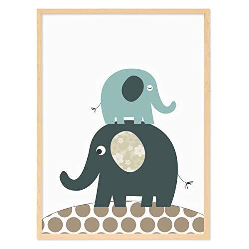 PHOTOLINI Kinder-Poster mit Bilderrahmen Natur 'Elefanten' 30x40 cm Kinderzimmer-Poster Blau Tier-Bild Zeichnung