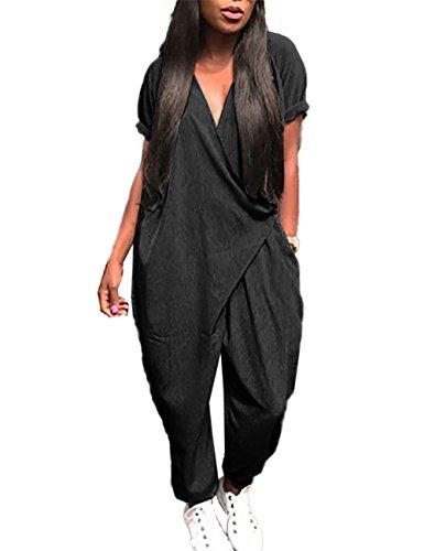 Boutiquefeel Damen Solid Pocket Wrapped Harem Jumpsuit Schwarz XL