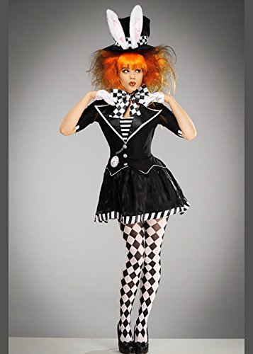 8in1 Schwarzes und weißes Mad Hatter Kostüm für Damen XL (UK (Mad Hatter Disney Kostüm Mädchen)
