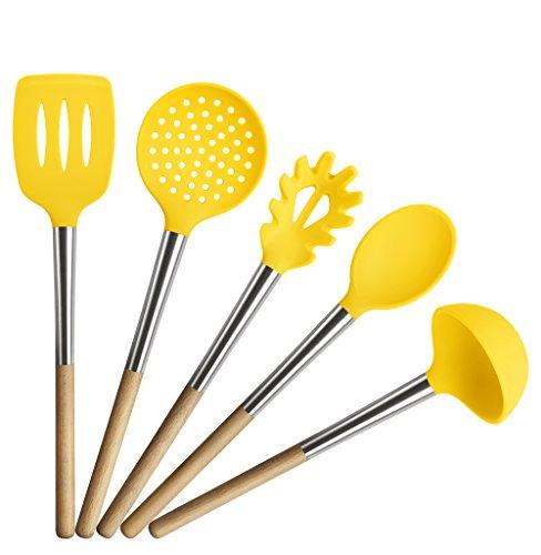 tophome Silikon hitzebeständig Antihaft Küche Kochwerkzeug Set Besteck servieren Werkzeug und Gadget Set von 5(inklusive Schaumlöffel, Schöpflöffel, Löffel, Schlitz Turner, Spaghetti Server), Silikon, gelb, Gelb (Gelb Küchenutensilien)