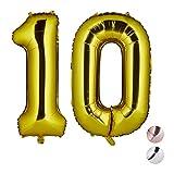 Relaxdays Palloncini Giganti in Foil con Numero 10 per Compleanni con Cifre, ad Aria e ad Elio, Pellicola, Gold, H x B x T: ca. 85 x 50 x 17 cm