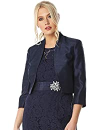 61a9074435879 Roman Originals Women 3/4 Sleeve Silk Jacket - Ladies Event Party Evening  Special Occasion