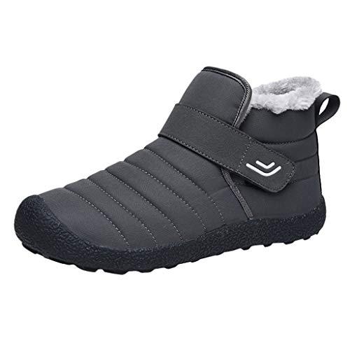 KUDICO Herren Damen Stiefeletten Schlupfstiefel Warm Gefüttert Flache Schuhe Winterstiefel Wandern Kurzer Boots Schneeschuhe Stiefel(39 EU, Grau)