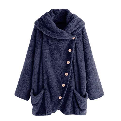 iHENGH Damen Herbst Winter Bequem Mantel Lässig Mode Jacke Mode Frauen Knopf Mantel Flauschige Schwanz Tops Mit Kapuze Pullover Lose Pullover(Dunkelblau, XL)