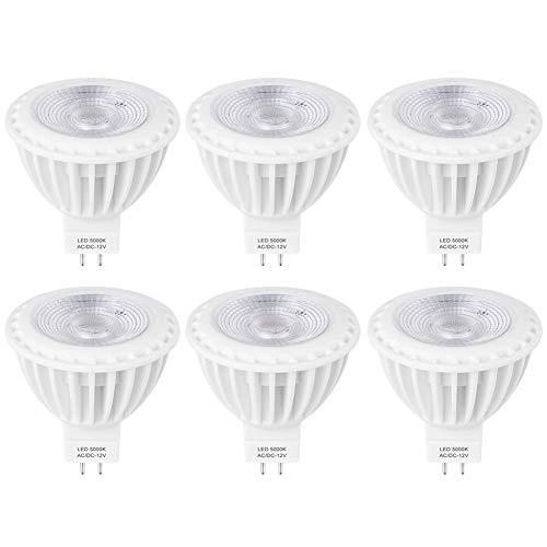 3W LED MR16 COB Ersetzt für Halogen 12V MR16 20W AC/DC, 300 Lumen GU5.3-Sockel 38 Grad Winkel, Halogen GU5.3 LED Tageslicht 5000K, Nicht Dimmbar 6er Pack -