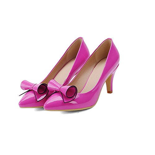 VogueZone009 Damen Rein Pu Leder Mittler Absatz Spitz Zehe Ziehen Auf Pumps  Schuhe Rosa