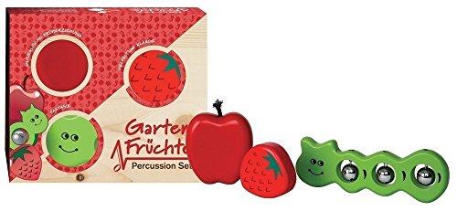 Campanilla S10003 Kinder Percussion Set - Gartenfreunde 3-teilig - Gartenfrüchte - Apfel (Rassel), Erdbeere (Rassel), Wurm (Glocken) -