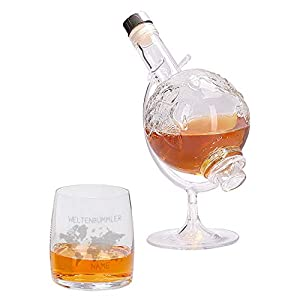 Herz & Heim® Weltenbummler Whiskyset bestehend aus Weltkugel Whisky-Karaffe und einem gravierten Whiskyglas