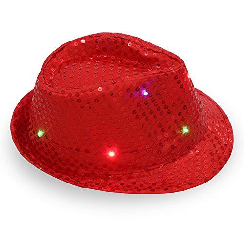 1 Stück Damen Herren Jazzhut mit LED-Licht, glitzernd, Pailletten Hut für Party, Tanzen mit 9 blinkenden LED-Lampen 58cm Adjustable rot