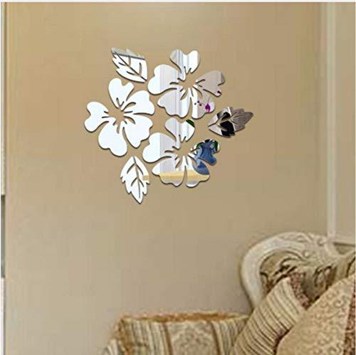 Qwerlp 1 Satz Spiegel Blume Blatt Wandaufkleber Reflektieren 3D Diy Decor Wohnzimmer Aufkleber Abnehmbare Hartplastik Acryl Floral Aufkleber